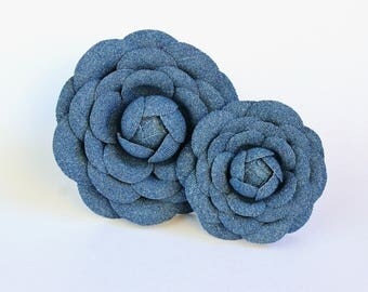 READY to SHIP cotton flower brooch, denim fabric camellia brooch, denim pin, jeans flower, denim wedding, denim cotton jewellery