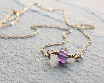 Amethyst Necklace, 14kt Goldfilled wire wrapped purple gemstone, dainty, minimalist, simple, February birthstone, holiday gift for her, 4071