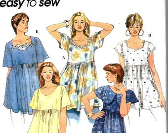 Simplicity 8980 Easy To Sew Misses Set Of Raised Waist Tops Pattern, L-XL, UNCUT