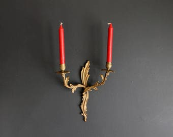 Vintage Candle Wall Sconce Gold Hollywood Regency Candle Holder Cast Metal Art Nouveau Double Candle Sconce