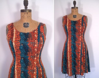1970s feather print day dress • 70s abstract animal print summer dress • vintage get out of town dress