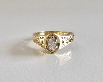 Marquise Cut Diamond Engagement Ring, Engagement Ring, Marquise Cut Diamond, Diamond Engagement Ring, Vintage Diamond Engagement Ring
