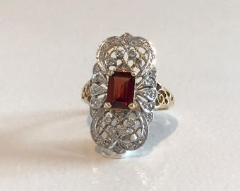Yellow and White Gold Diamond and Garnet Filigree Ring, Garnet and Diamond Ring, Filigree Ring, January Birthstone Ring, Birthstone Ring