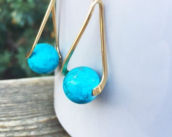 Turquoise and Gold Globe Earrings