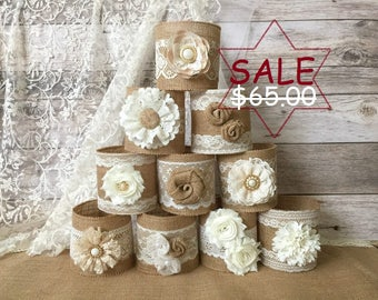 10 burlap jar sleeves, ball quart size jar sleeves, ivory and cream color lace and natural color burlap, wedding, bridal shower