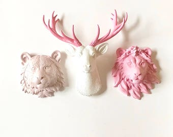 SET of 3:  SMALL Faux Taxidermy Deer Set 1 Deer Head + 2 Small Animal Heads Choose 2 small Wolf Bear Elephant Tiger Lion or Zebra Small Faux