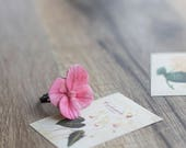 Hydrangea flower ring - flower jewelry - pink unique ring - flower bridesmaid jewelry - delicate jewelry - botanical jewelry