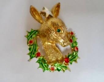 Vintage 1950s Christmas Brooch Tancer II Christmas Brooch Rudolph Reindeer Brooch Christmas Christmas Jewelry Holiday Jewelry Xmas Jewelry