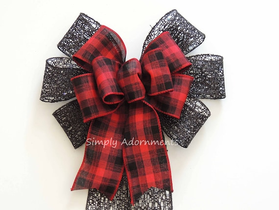Red Black Buffalo Plaid Bow Black Red Tartan Christmas Wreath Bow Buffalo Plaid Bow Black Red Wedding Bow Cabin Plaid Christmas door swag bo