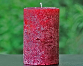 """Cranberry Red Unscented Rustic 4"""" Wide Pillar Candle - Choose 4"""", 6"""" or 9"""" Tall"""