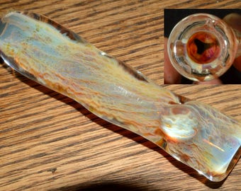 Glass Chillum Pipe Ice Pinch Color Changing Honeycomb Roots - Handblown
