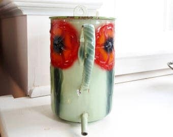 Gorgeous Antique French Enamelware Wall-mounted Irrigator/Washing Pot, Poppies, Embossed Design, Signed 'Duco', c. 1930's, Birthday