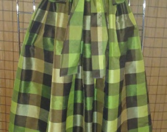 Green And Brown Checkered Skirt