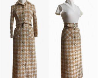 Vintage 70s maxi dress set/ cropped jacket/ beige & white houndstooth/ bolero and dress set