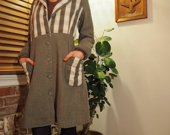 two-tone lightweight overcoat