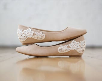 Nude Wedges,Low Wedge,Low Wedding Shoes,Wedding Heels,Bridal Shoes,Bridal Heels,Flats,Bridesmaid Gift/Shoes,Low Nude Heels with Ivory Lace