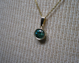 New 14k Yellow Gold Blue Green Moissanite Solitaire Pendant