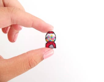 Mini Gumball Machine cross stitched pin, collar pins, gifts under 50, gifts for toy collectors, christmas stocking stuffers