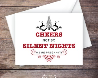 Cheers to Not So Silent Nights Baby Announcement, Christmas Baby Announcement, INSTANT DOWNLOAD, DIY Printable, Template, Editable pdf