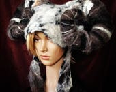 Mega Aries Ram Horn Headdress for theatre animal costume design with extra large posable horns in natural grey and black wool fleece