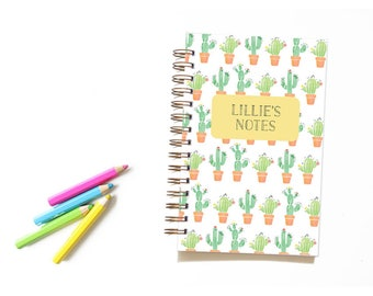 Cactus Notebook for Kids. Kids Notebook. Cactus Journal. Kids Journal. Personalized Notebook. Back to School. School Supplies.