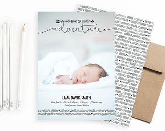 Baby Birth Announcement: Greatest Adventure. Tribal Birth Announcement. Birth Announcement Boy. Birth Announcement Card.