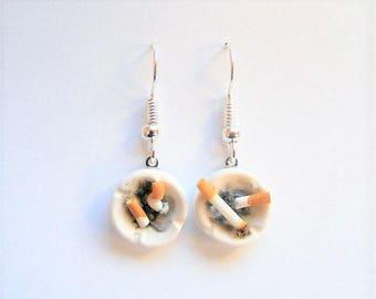 Ashtray earrings, Cigarette earrings, smokers earrings, gift for smoker, ash tray earrings, cigarette dangle earrings, miniature cigarette