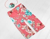 I Heart Blossoms -  newborn pants set in coral, mint, aqua, teal, peach and white with headband