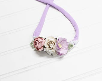 Penelope - beautiful dainty and simple flower headband in lavender, lilac, pink and white (RTS)
