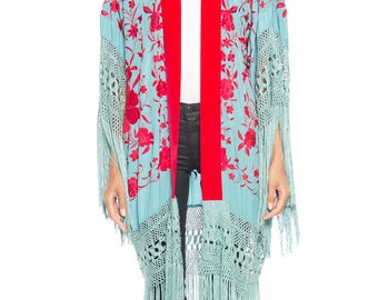 Morphew Lab Blue And Pink Embroidered Jacket Size: Free