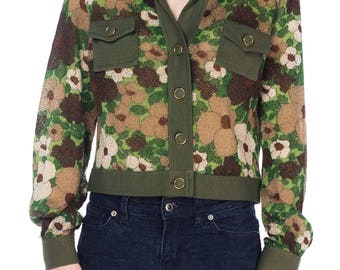 1960s Military Inspired Floral  Wool Knit Jacket From France Size: M/L