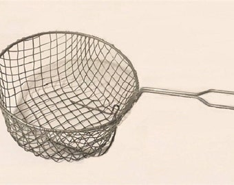 Vintage Fry Basket, wire fish fry basket, farmhouse style cookware, housewares metalware