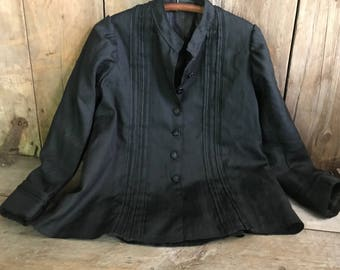 Antique French Black Jacket, Cotton Weave Blouse, Tuck Pleated, Black Trim, Lined
