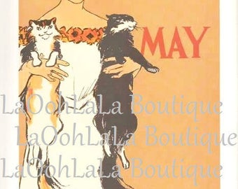 1897 Harper's May Issue Victorian Era Cat Lady Edward Penfield Art Print Cats Feline Kitty Pets Edwardian Woman Lithograph Orange Wall Decor