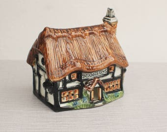 A Glazed Ceramic Luminary of English Pub Candle Holder The Kings Arms