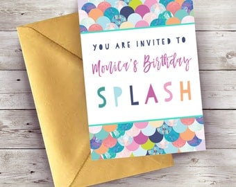 Mermaid Scales Themed Personalised Party Invitations and Stationery