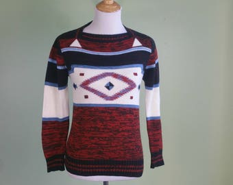 1970s Boho Pullover Sweater - Vintage 70s Long Sleeve Space Dye Sweater - XS Small