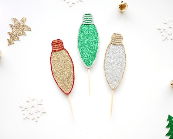 Christmas Light Cupcake Toppers - Glitter - Holiday Party Decor. Christmas Party Decor. Appetizer Picks. Christmas Cupcake Topper.