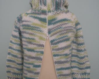 Green Zip-Back Sweater with Hood