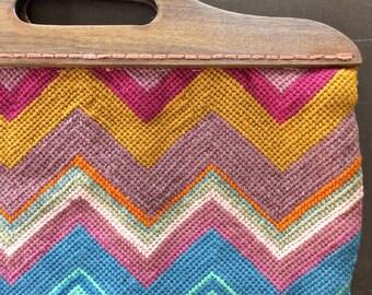 Bright Woven Bag - Vintage Handmade Wood Handle Purse