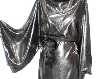 Silver  stretch metallic  evening ,party dress wide sleeves knee lenght formal dress M, M/L