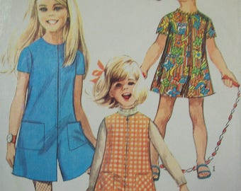 Girl's Jiffy Pantdress or Pantjumper with Front Zipper 1960s Simplicity Pattern 7406 Girl's Size 8
