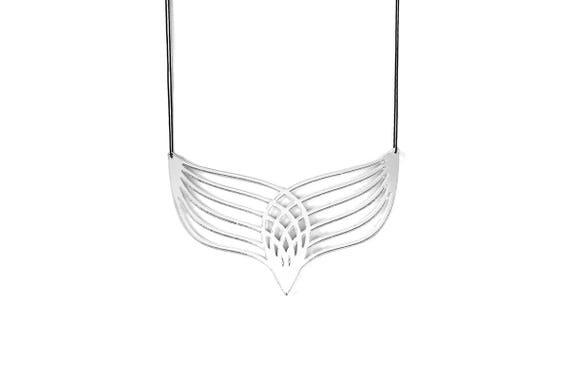 Necklace Mutation 04 - silver mirror - graphic statement jewellery - wearable art - minimalist - designer accessory - lasercut acrylic