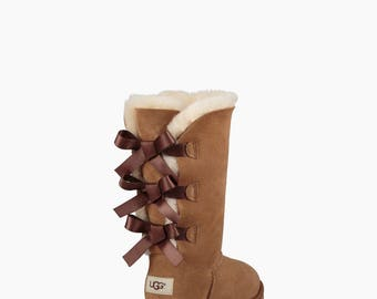 Custom Kids Youth UGG Boots Tall Bailey Bow Chestnut Tan Black w/ Swarovski Crystal Rhinestone Jewel Winter Bling Dynamite Rhinestone Gift