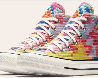 Custom Converse High Top 70s Mara Hofman Quilted Knit Digital Rainbow w/ Swarovski Crystal Rhinestone Chuck Taylor All Star Sneaker Shoes
