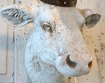 Faux cow head wall mount painted white light gray aged rustic French farmhouse mounted heifer taxidermy hanging decor anita spero design