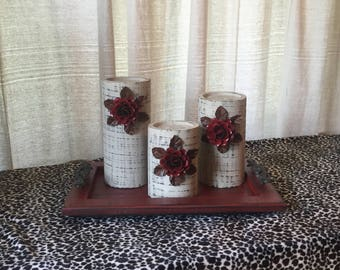 Wooden Candleholders (set of 3)  Khaki with Red Flowers