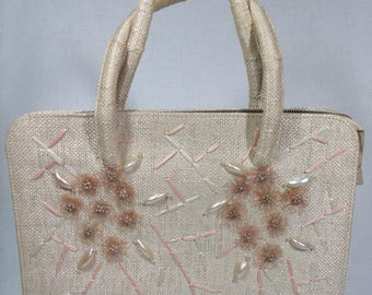 Vintage Purse, Handbag Japan, 1950s 60's Straw Woven Beaded