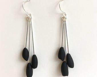 Minimal Bud Earrings in Black