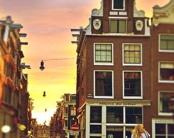 Street Art, Amsterdam Photography, Street Bike Print, Street Lamp, Night Lights, Europe Travel, Bike Wall Art, Street Photography